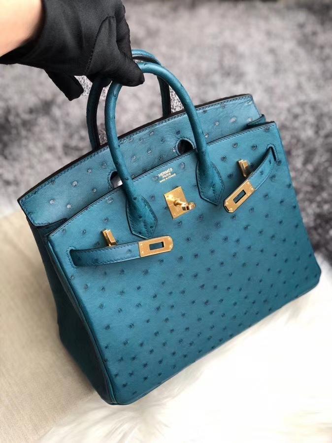 Hermès(爱马仕)Birkin 25cm Ostrich kk鸵鸟  7C 珊瑚蓝 金扣 顶级手缝 现货