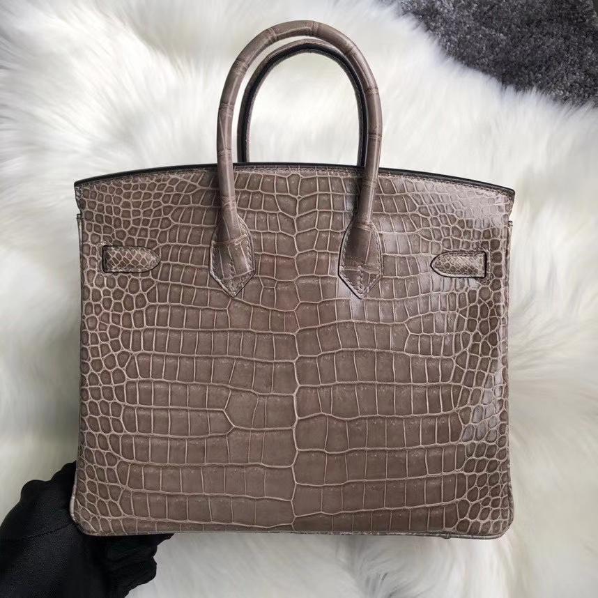 Hermès(爱马仕)Birkin 25cm Porosus shiny 亮面鳄鱼 ck18 斑鸠灰 Gris T 金扣 顶级手缝 定制