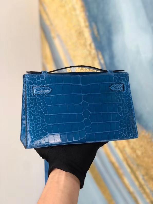 Hermès(爱马仕)Minikelly pochette 7Q 希腊蓝 mykonos 金扣 顶级手缝 手拿包  晚宴包 22cm