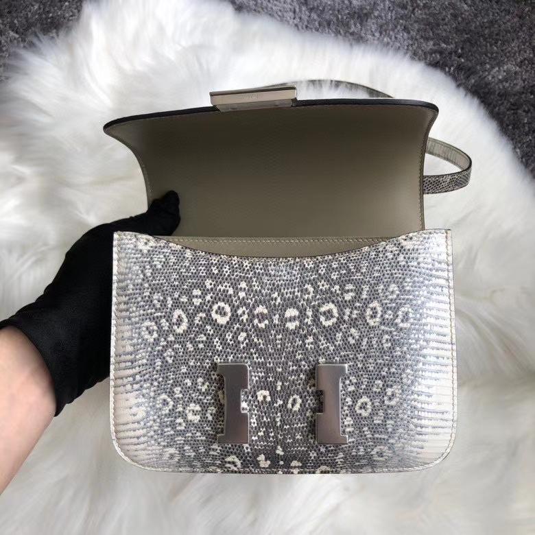 Hermès(爱马仕)Constance18cm Lizard 进口亮面蜥蜴 01 原色 小喜玛拉雅色  银扣 顶级手缝
