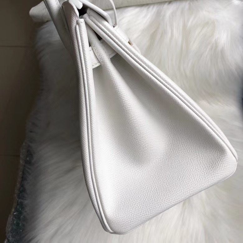 Hermès(爱马仕)Birkin 30cm Epsom 原厂掌纹皮 01 纯白 White  顶级手缝 定制