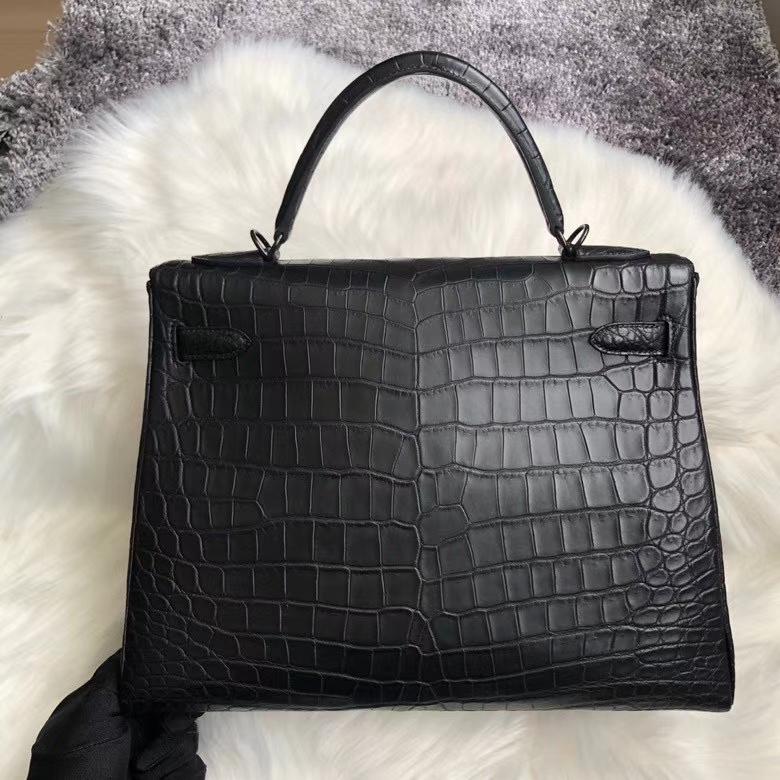 Hermès(爱马仕)Kelly 32cm Crocodile matt 雾面鳄鱼 ck89 黑色 Noir 黑扣 品相完美