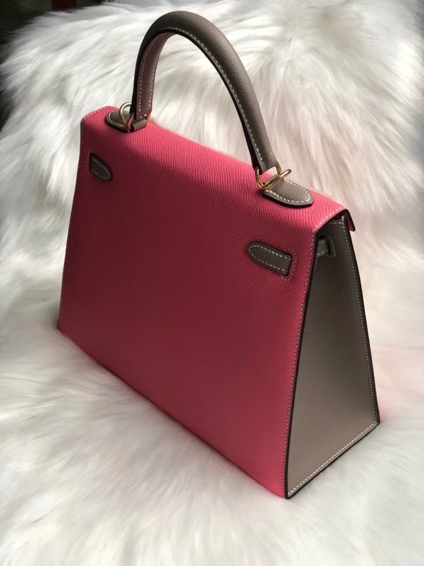 Hermès(爱马仕)Kelly 25cm Epsom 原厂掌纹皮 8w 唇膏粉拼ck18 大象灰 金扣 马蹄印 定制
