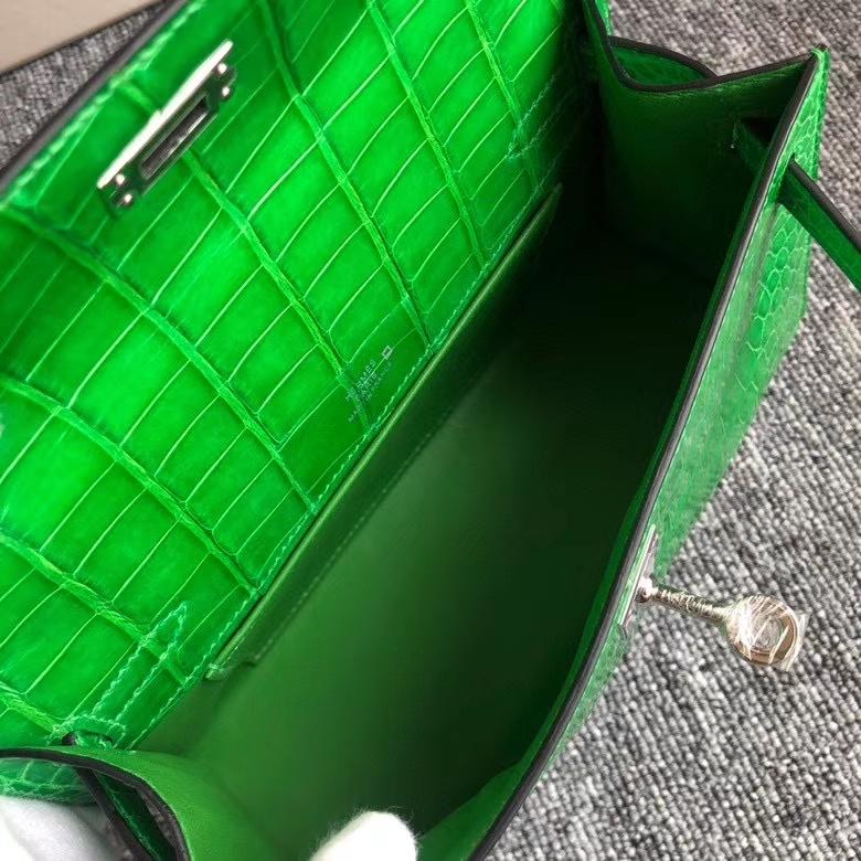 Hermès(爱马仕)Minikelly pochette 22cm  Alligator shiny 亮面鳄鱼  仙人掌绿 银扣 现货