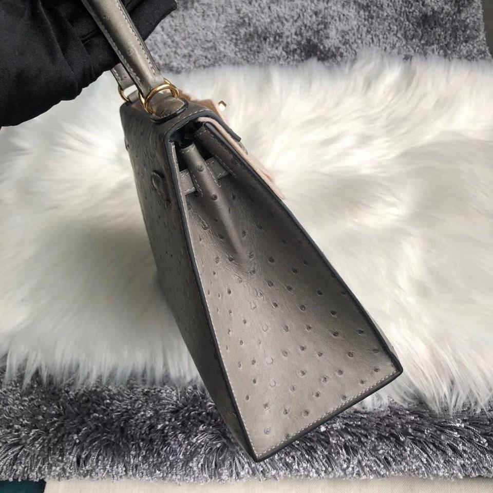 Hermès(爱马仕)Kelly 25cm Ostrich kk鸵鸟 M8 沥青灰 Gris Ashpite 金扣 顶级手缝 现货