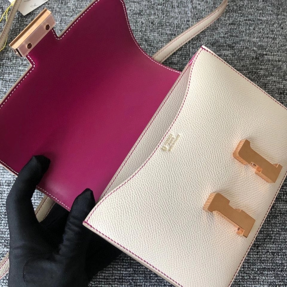 Hermès(爱马仕)Constance 18cm Epsom 原厂掌纹皮 ck10 奶昔白 内拼 玫瑰紫 金扣 马蹄印 定制