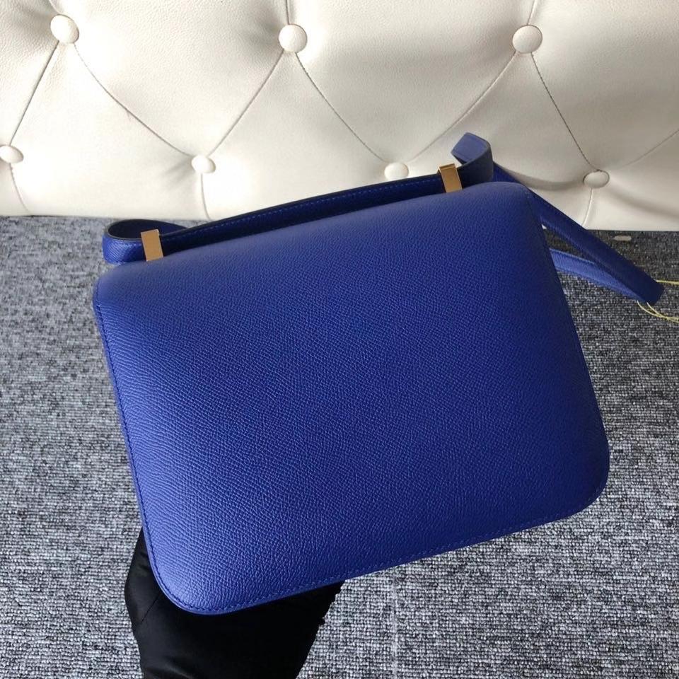 Hermès(爱马仕)Constance 24cm Epsom 原厂掌纹皮 7T 电光蓝内拼孔雀绿 马蹄印 金扣 顶级手缝 现货