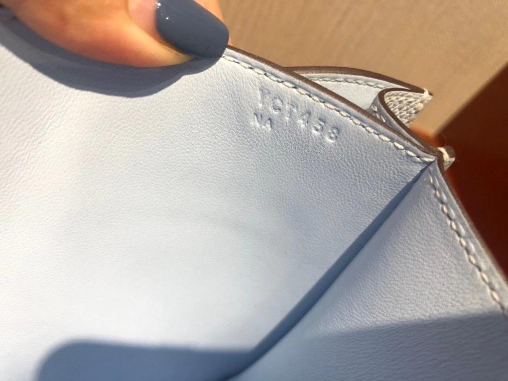 Hermès(爱马仕)最最新Y刻 正品 Constance18cm Epsom T0雾蓝色 金扣