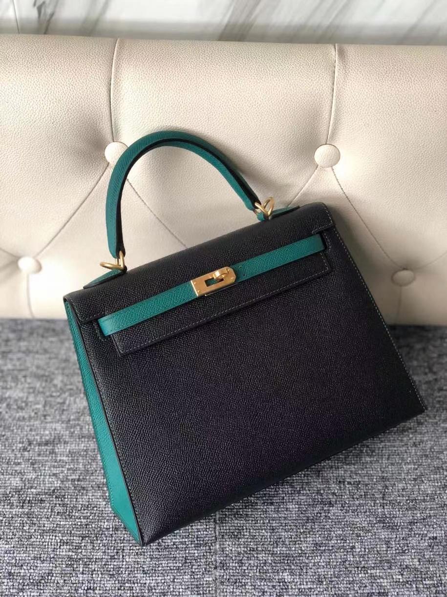 Hermès(爱马仕)Kelly 25cm 原厂掌纹皮 Epsom ck89 黑色 Noir 拼 Z6 孔雀绿 拉丝金扣 马蹄印 顶级手缝 现货