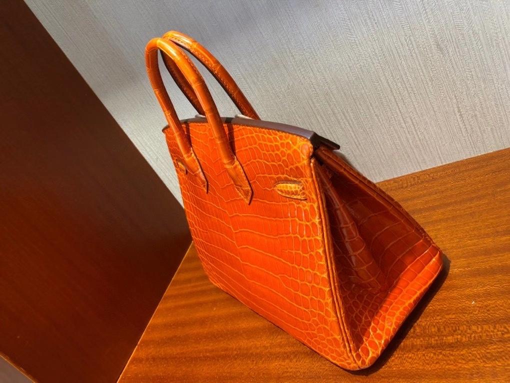 Hermès(爱马仕)Birkin 25cm Crocodile shiny 亮面鳄鱼 93 橙色 Orange 金扣 顶级手缝 现货