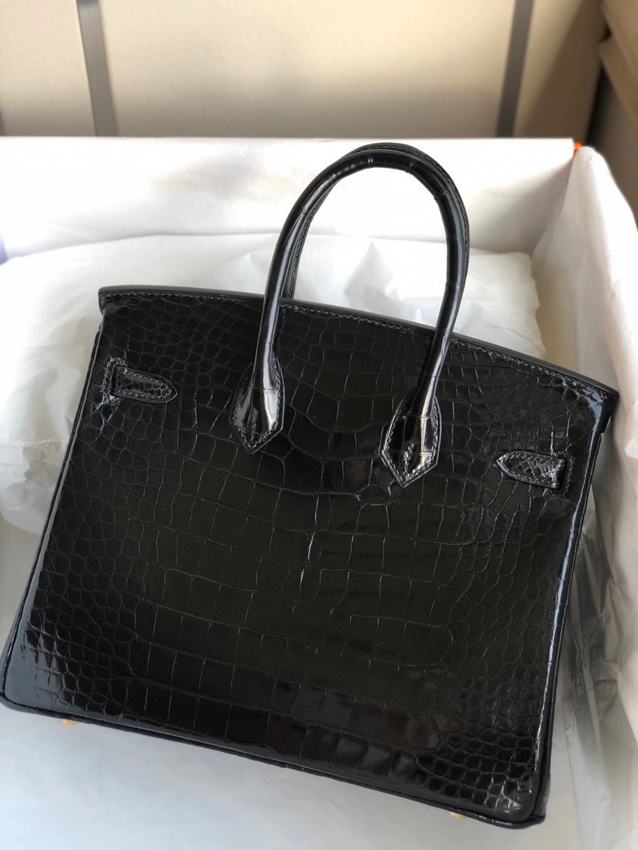 Hermès(爱马仕)Birkin 25cm Alligator shiny 亮面鳄鱼ck89 黑色 Noir 金扣 顶级手缝 现货