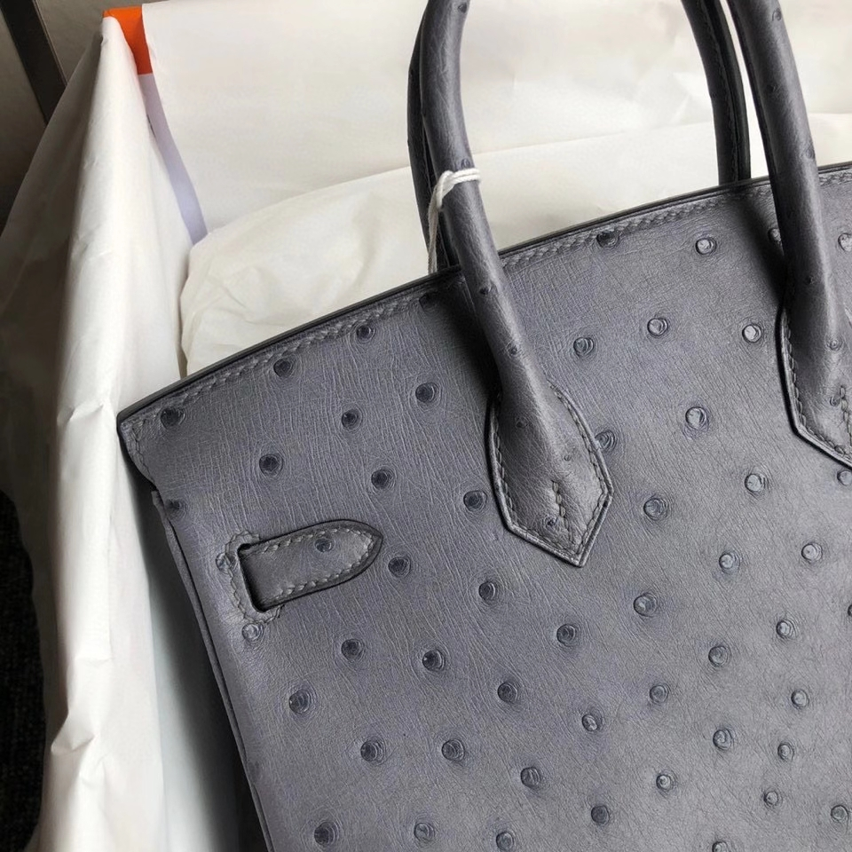 Hermès(爱马仕)Birkin 25cm Ostrich kk 鸵鸟 玛瑙灰 金扣 顶级手缝 现货