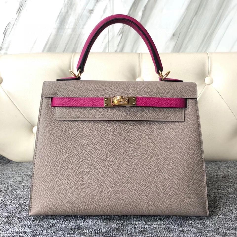 Hermès(爱马仕)Kelly 25cm 原厂掌纹皮 Epsom M8沥青灰拼 L3 玫瑰紫 金扣 马蹄印 顶级手缝 现货