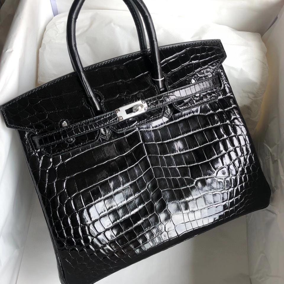 Hermès(爱马仕)Birkin 25cm Crocodile shiny 亮面鳄鱼 ck89 黑色 银扣 顶级手缝 现货