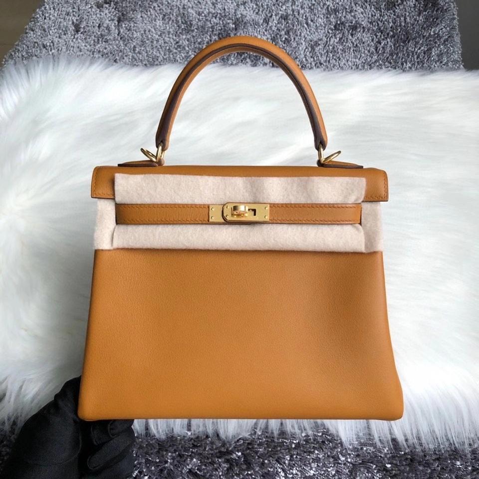 Hermès(爱马仕)Kelly 25cm Swift 芝麻色 芝麻黄 Sesame  金扣 顶级手缝