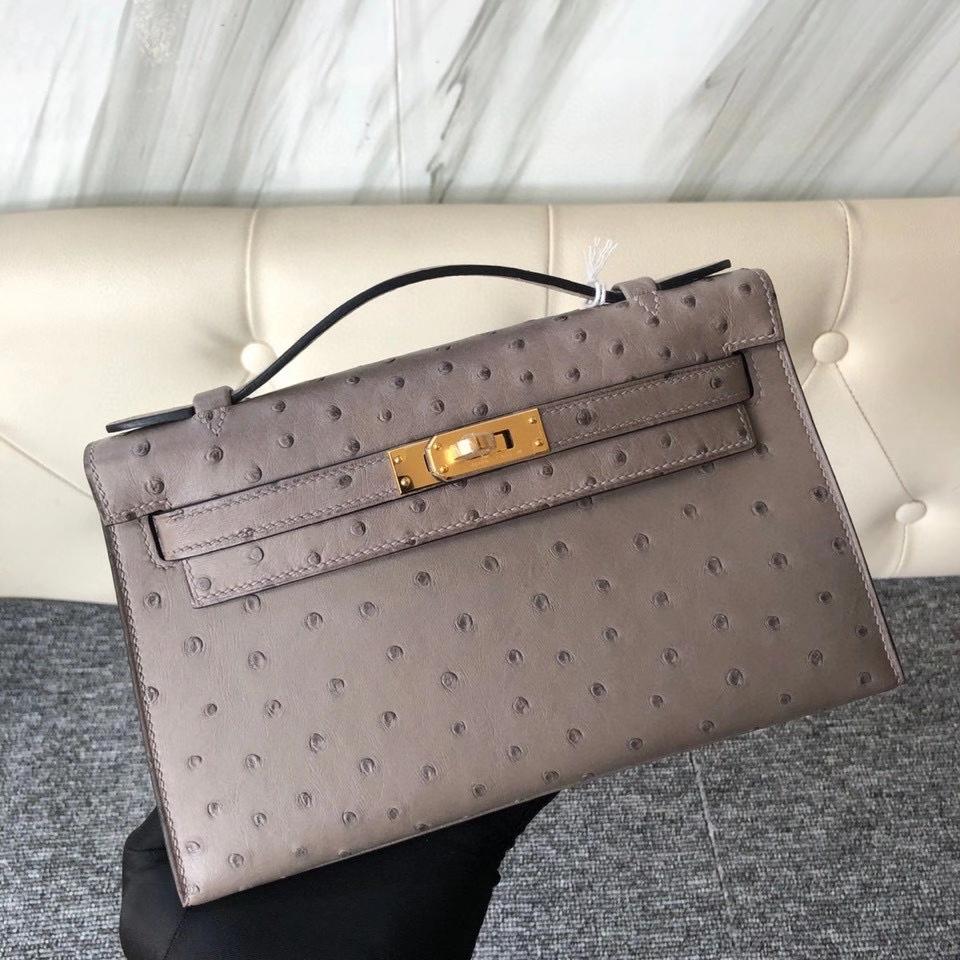 Hermès(爱马仕)Mini kelly pochette 22cm Ostrich kk 鸵鸟 m8 沥青灰 顶级手缝 手拿包 晚宴包  现货