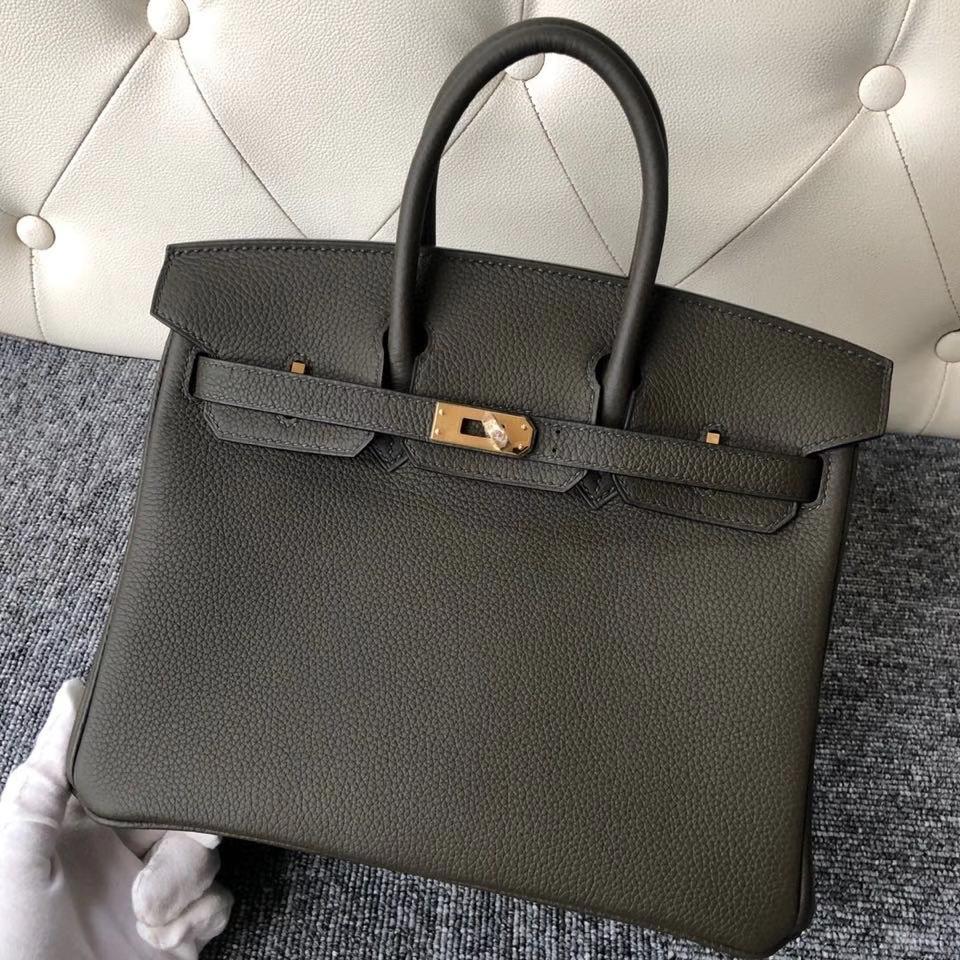 Hermès(爱马仕)Birkin 25cm 原厂小牛皮 G8 橄榄绿 金扣 顶级手缝 现货