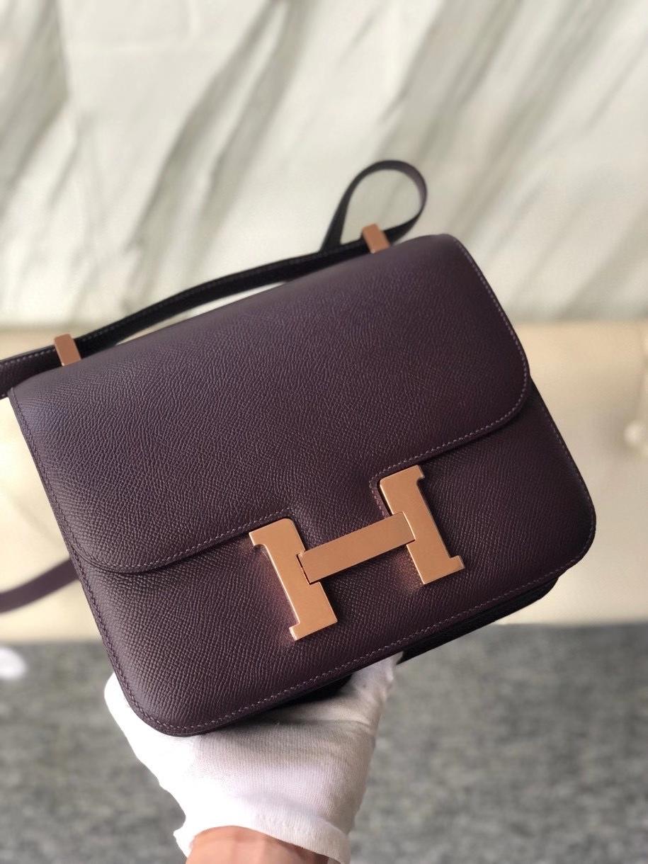 Hermès(爱马仕)Constance 24cm Epsom 原厂掌纹皮 葡萄紫内拼海葵紫 玫瑰金 Rose gold 顶级手缝 定制