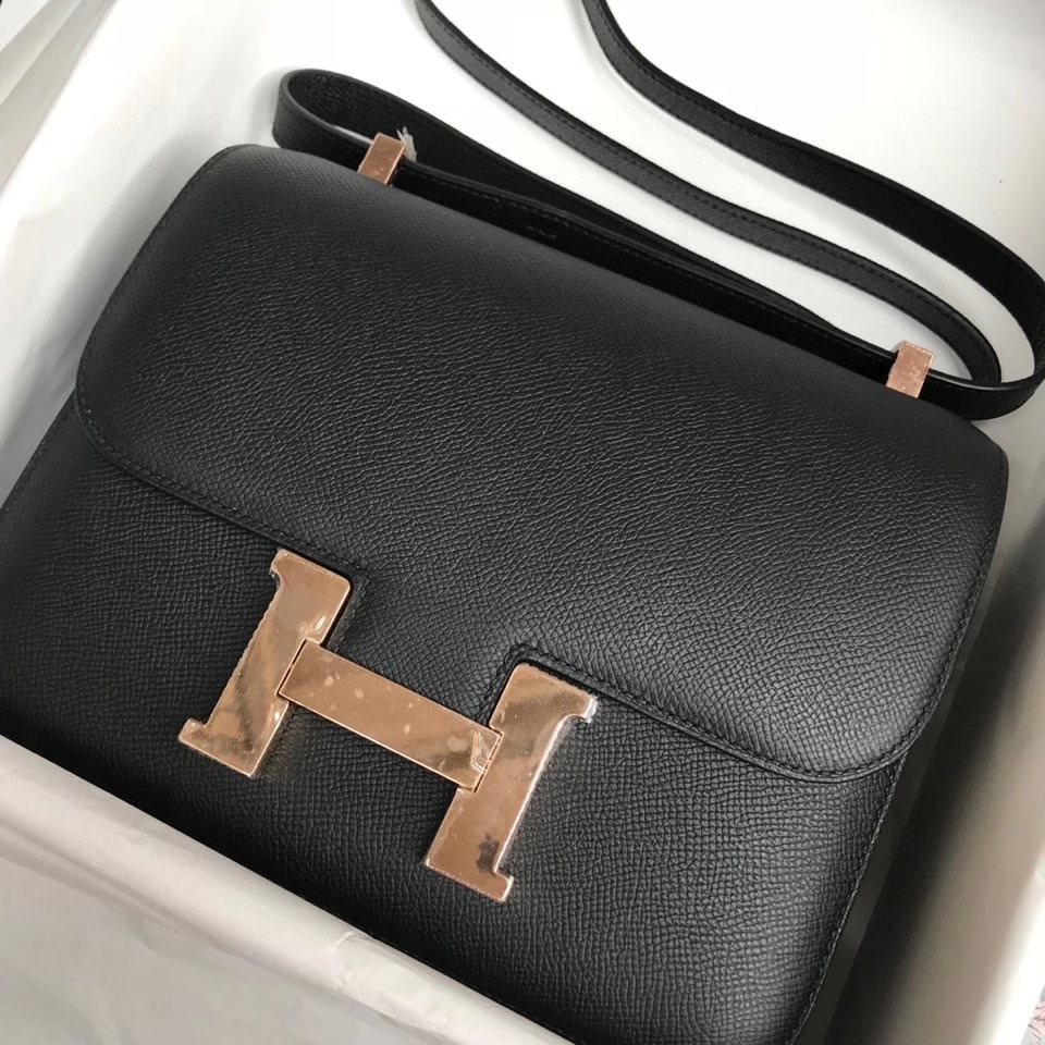 Hermès(爱马仕)Constance 24cm Epsom 原厂掌纹皮  ck89黑色  Noir  玫瑰金扣 Rose gold  顶级手缝 现货