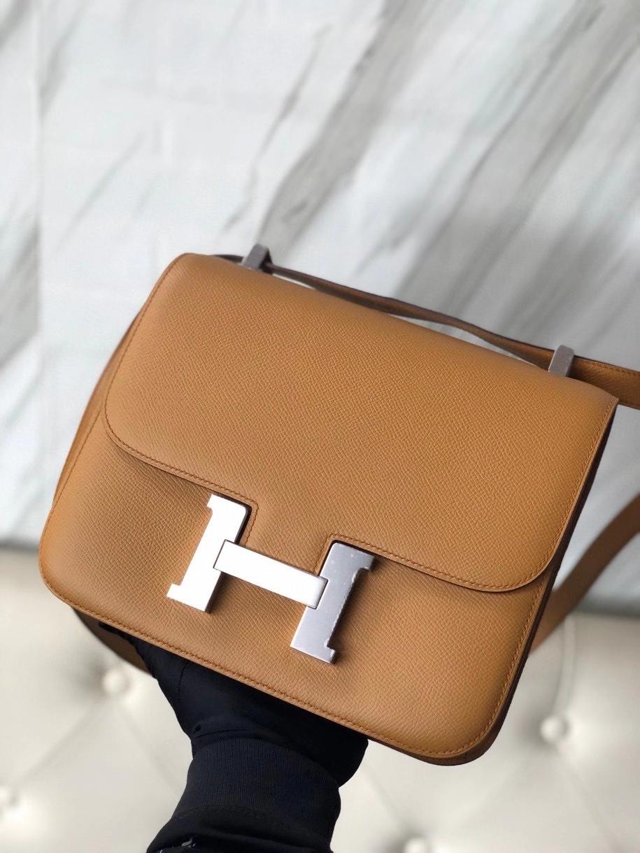 Hermès(爱马仕)Constance 24cm Epsom 原厂掌纹皮  2S芝麻色 Sesame 银扣 顶级手缝