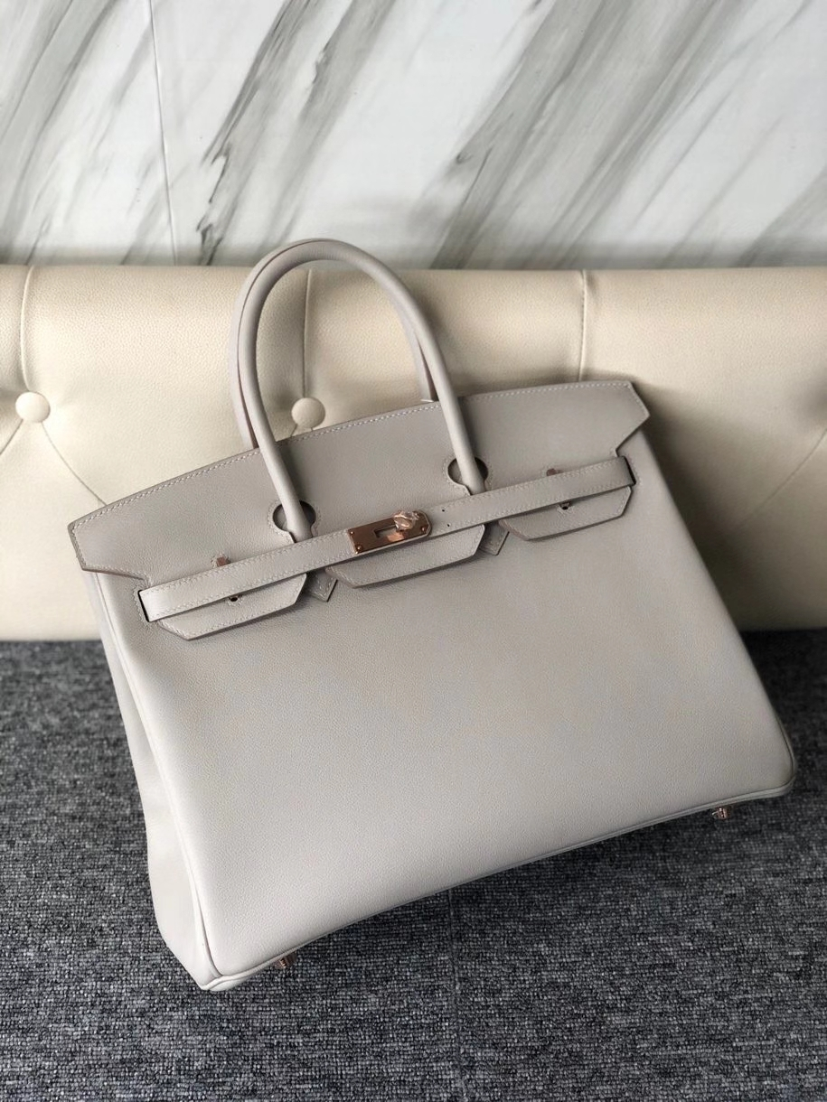 Hermès(爱马仕)Birkin 35cm Evecolor  ck80 珍珠灰 玫瑰金扣 rose gold 顶级手缝 现货
