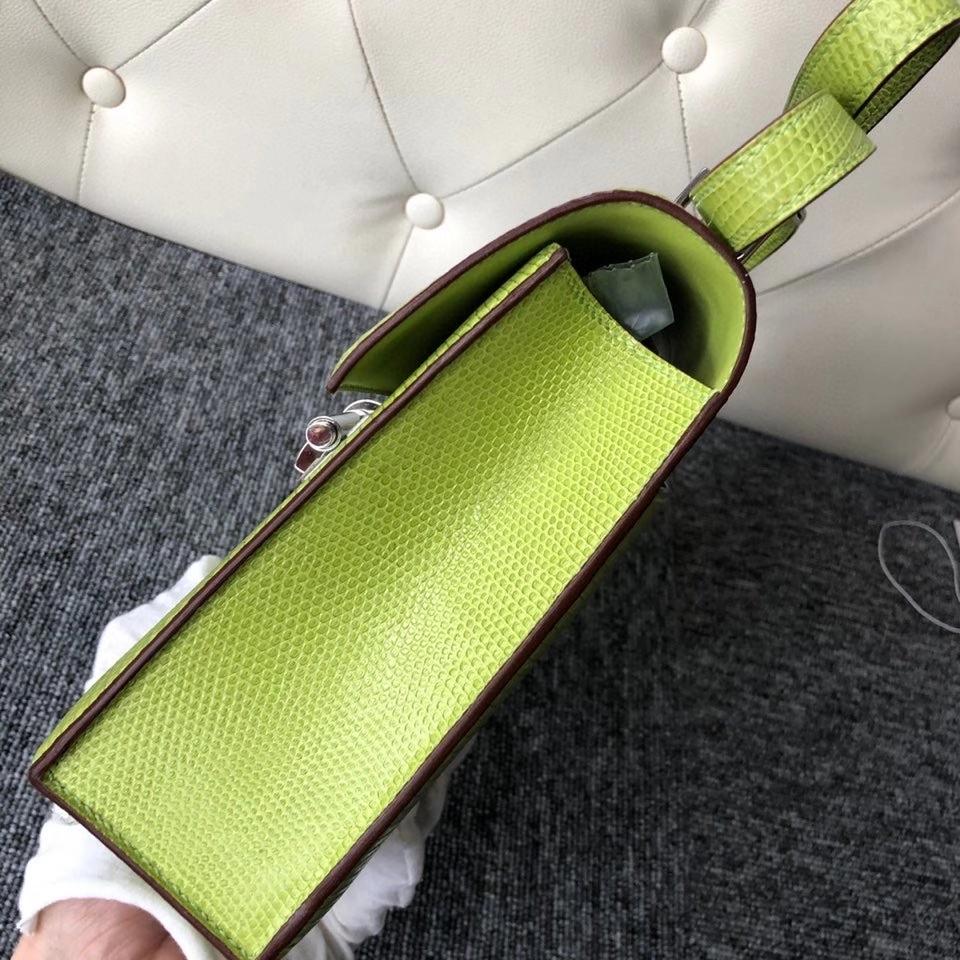Hermès(爱马仕)Verrou 24cm Lizard 进口亮面蜥蜴 6R 奇异果绿 银扣 顶级手缝