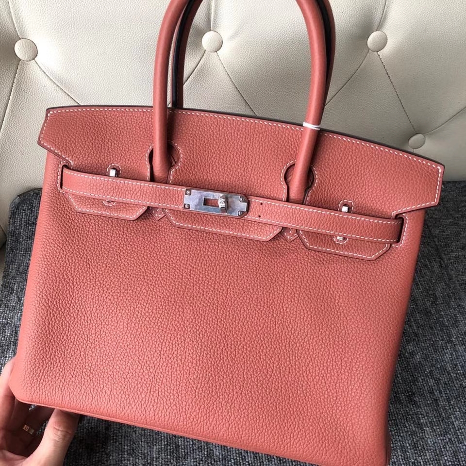 Hermès(爱马仕)Birkin 30cm 原厂小牛皮 togo 4E枫叶棕 银扣 顶级手缝 现货