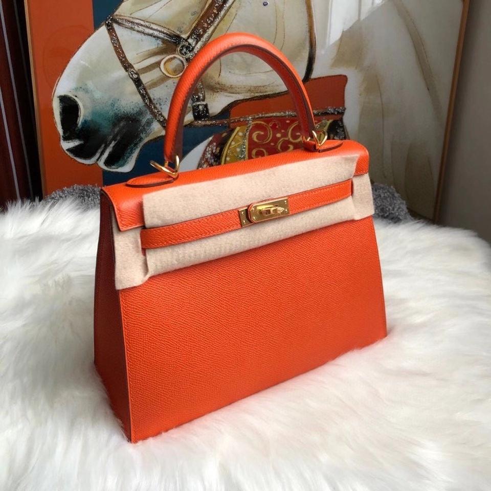 Hermès(爱马仕)Kelly 25cm Eposom 原厂掌纹皮 9J 火焰橙色 FEU. 金扣 顶级手缝 超美现货