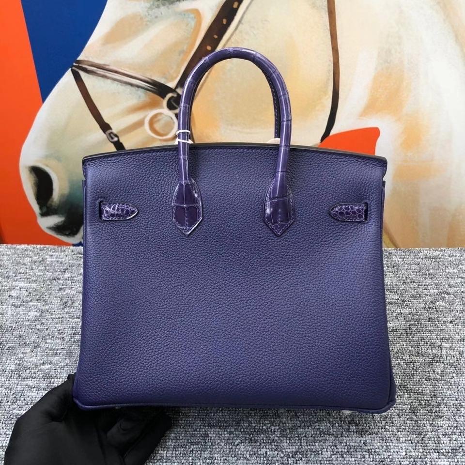 Hermès(爱马仕)Birkin 25cm 墨水蓝拼亮面鳄鱼 银扣 顶级手缝 定制