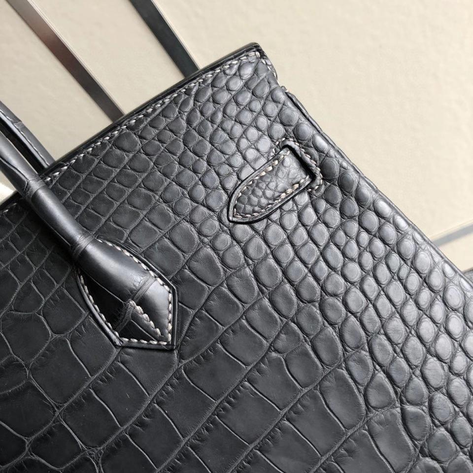 Hermès(爱马仕)Birkin 25cm Alligator matt 雾面鳄鱼  ck88 石墨灰 graphite 银扣 顶级手缝  现货