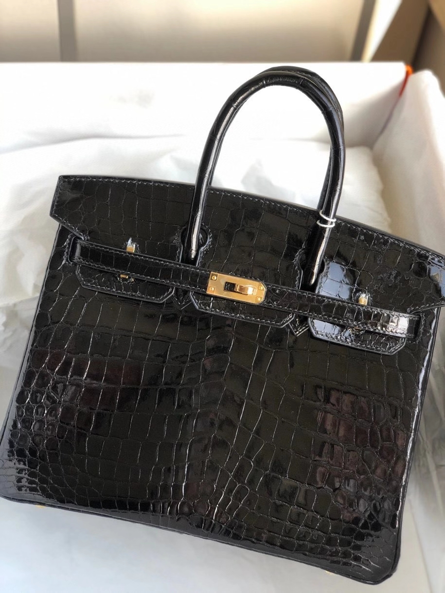 Hermès(爱马仕)Birkin 25cm Crocodile shiny 亮面鳄鱼ck89 黑色 Noir 金扣 顶级手缝 现货
