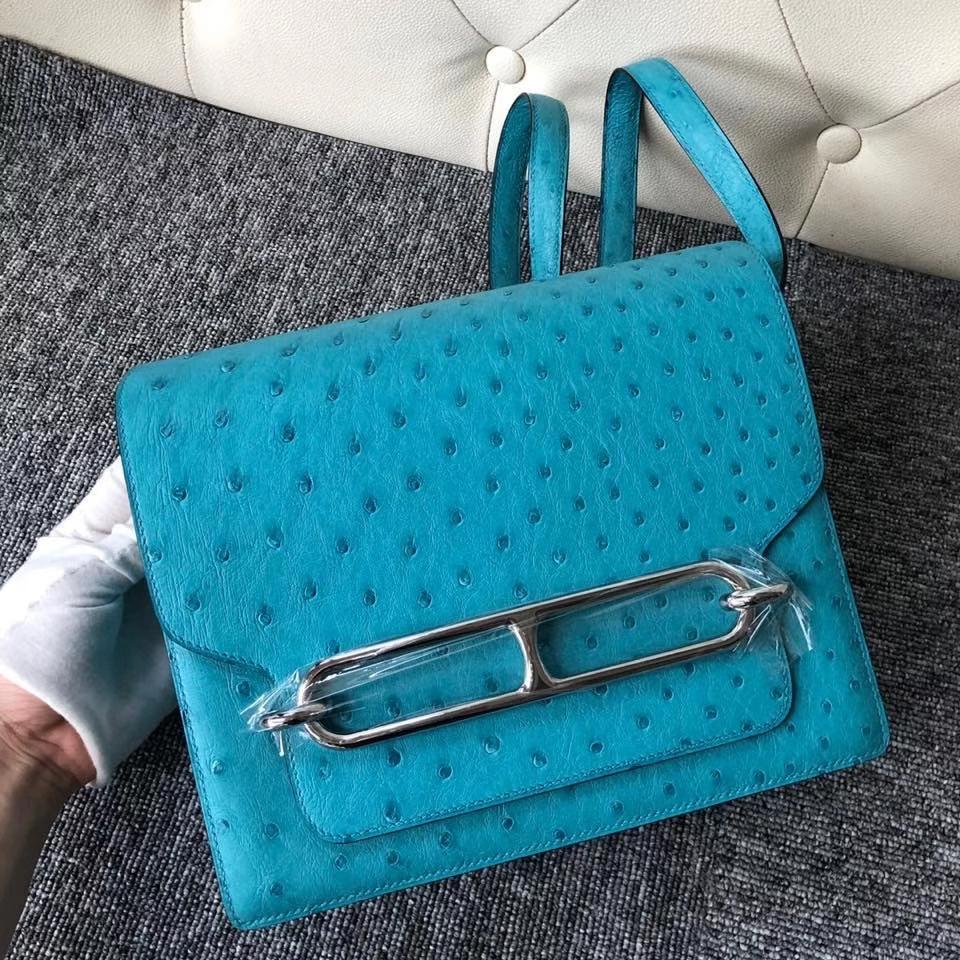 Hermès(爱马仕)Roulis 24cm Ostrich kk鸵鸟 蒂芙尼蓝 银扣 顶级手缝 定制