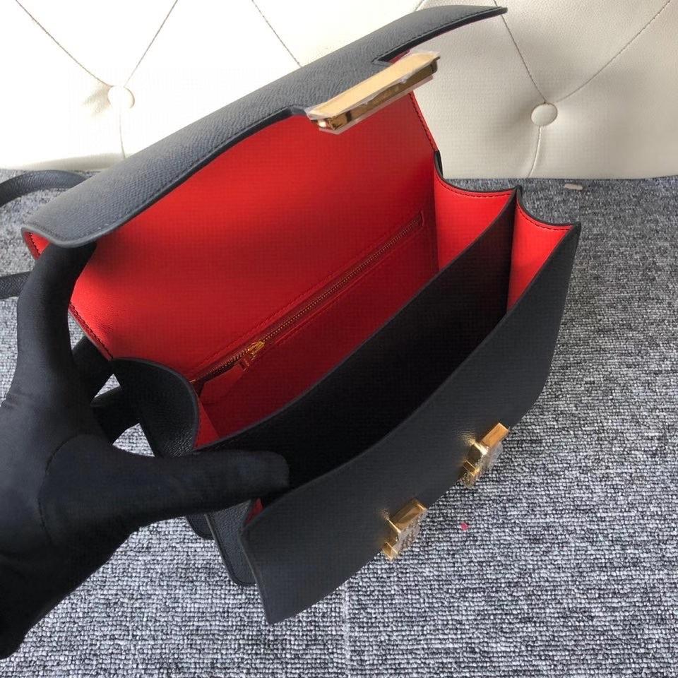 Hermès(爱马仕)Constance 24cm Epsom 原厂掌纹皮  ck89黑色  Noir 内拼 Q5 国旗红 金扣 马蹄印 顶级手缝 现货