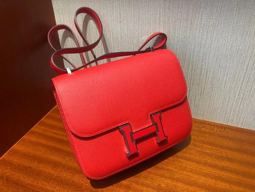 Hermès(爱马仕)Constance18cm Eposm S3 心红色拼珐琅扣  康康全线升级  超超薄油边