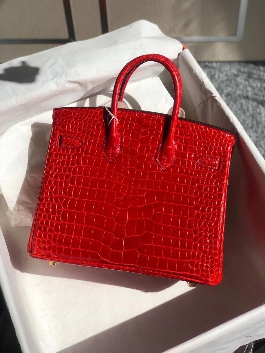 Hermès(爱马仕)Birkin 25cm Porosus shiny 亮面澳洲湾鳄 ck95 法拉利红 Braise 金扣 顶级手缝 现货