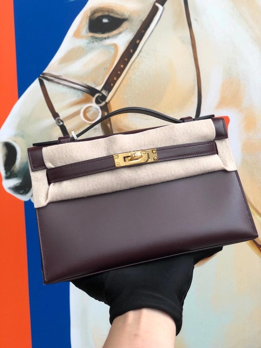 Hermès(爱马仕)Mini Kelly pochette 22cm Boxcalf ck57 波尔多酒红 Bordeaux 金扣 顶级手缝 现货