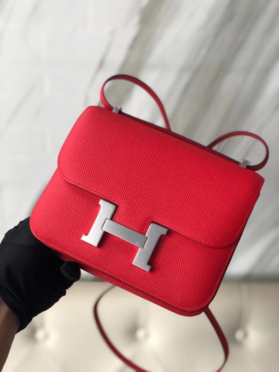 Hermès(爱马仕)Constance18cm Epsom 原厂掌纹皮  Q5 国旗红 Rouge casaque 金扣 顶级手缝 现货
