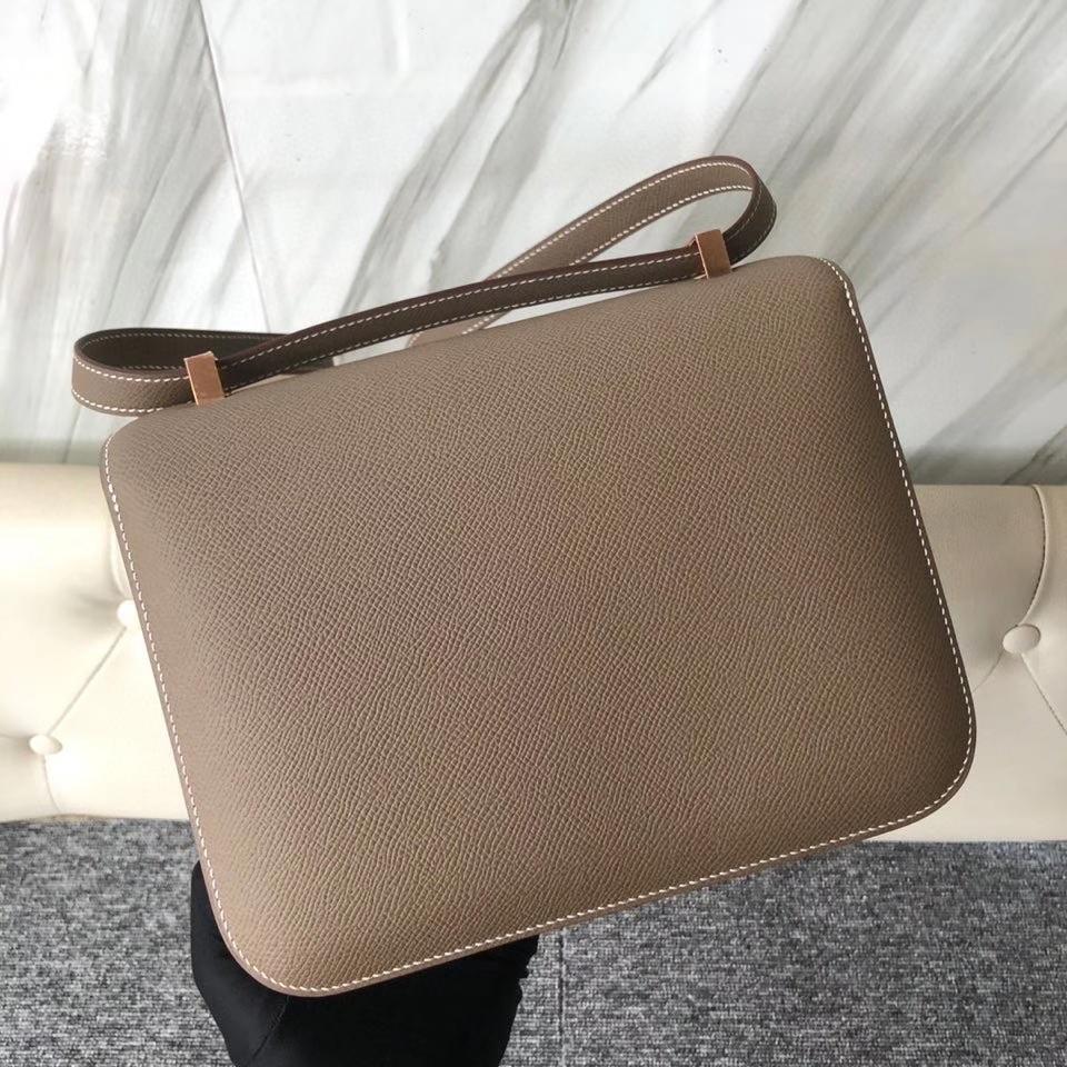 Hermès(爱马仕)Constance 24cm Epsom 原厂掌纹皮 ck18 大象灰 玫瑰金扣 顶级手缝 现货