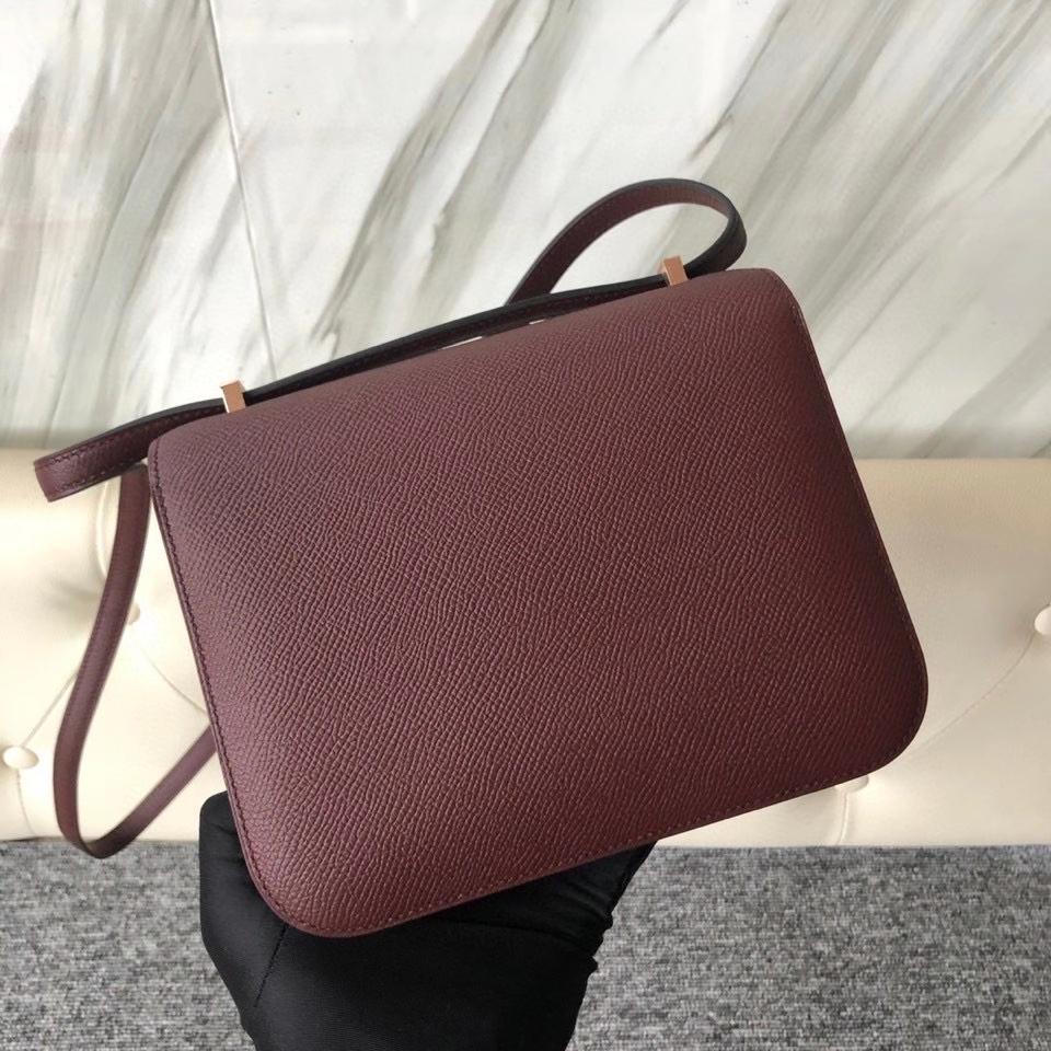 Hermès(爱马仕)Constance 24cm Epsom 原厂掌纹皮 ck55 爱马仕红 金扣 顶级手缝 现货