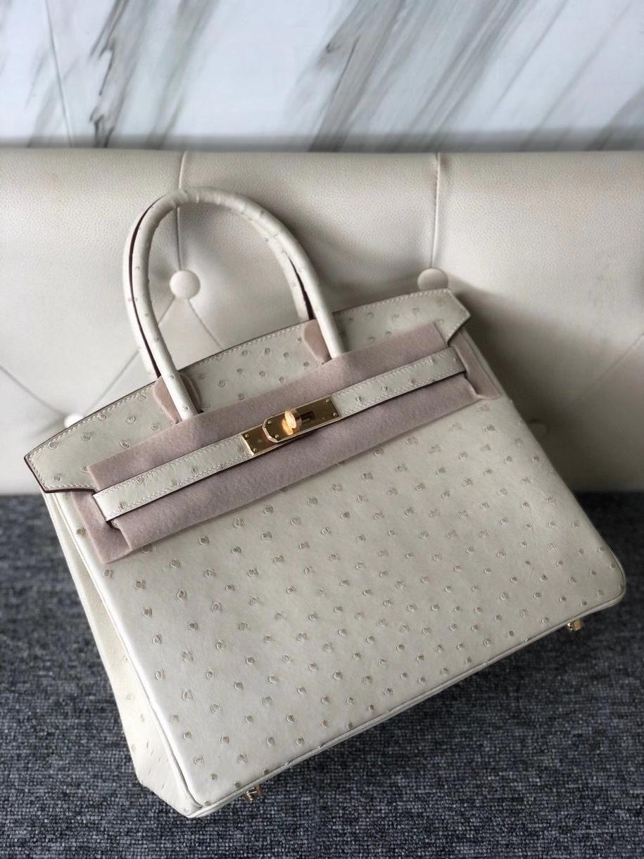 Hermès(爱马仕)Birkin 30cm Ostrich kk 鸵鸟 3C 羊毛白 金扣 顶级手缝 现货