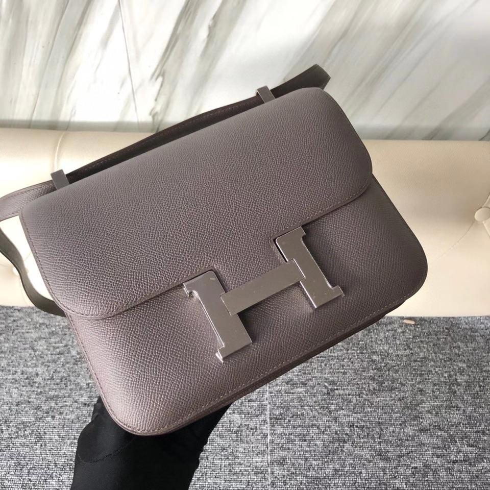 Hermès(爱马仕)Constance 24cm Epsom 原厂掌纹皮 8F 锡器灰 Etain 银扣 顶级手缝 现货