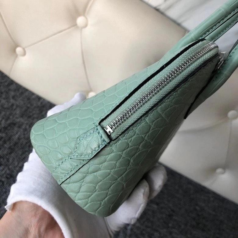 Hermès(爱马仕)Mini bolide alligator matt 雾面鳄鱼 6U 薄荷绿 银扣 顶级手缝 现货