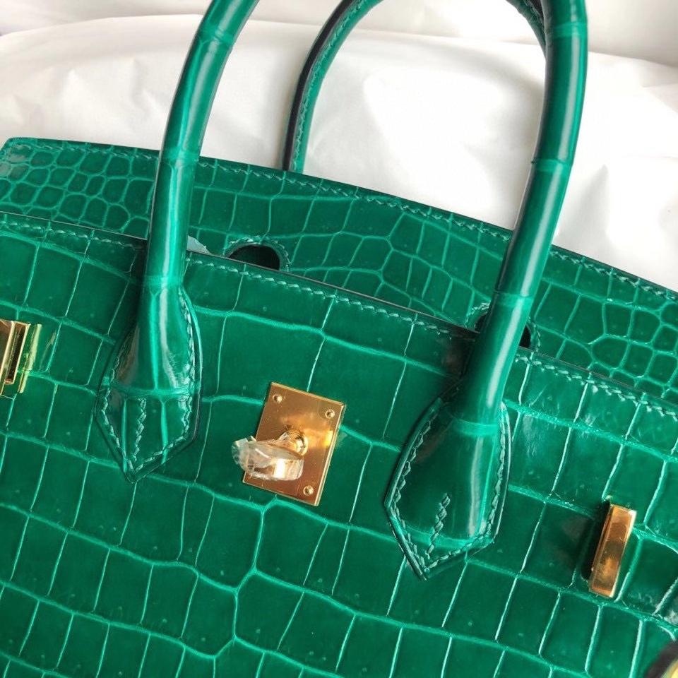 Hermès(爱马仕)Birkin 25cm Porosus shiny 亮面澳洲湾鳄鳄鱼 7Q翡翠绿 金扣 正品五金 定制