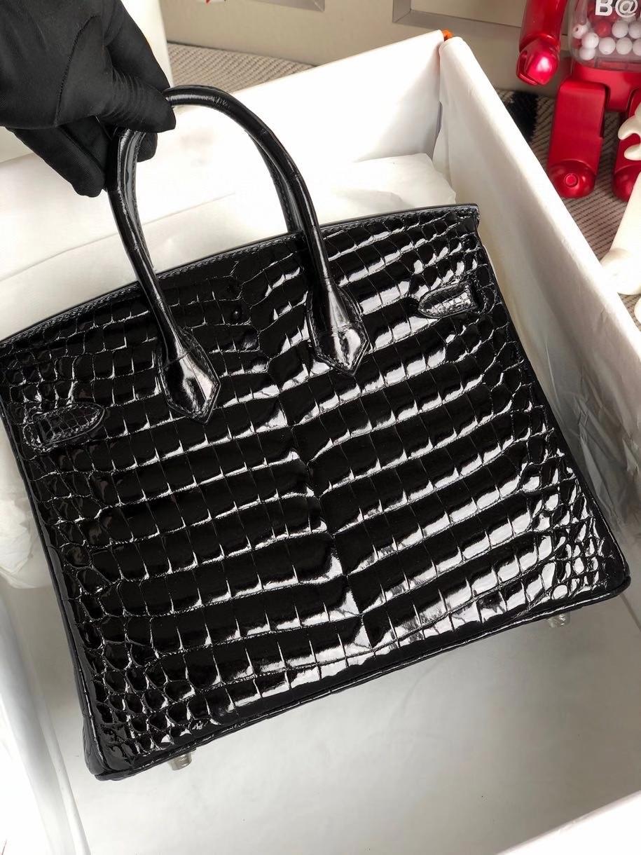 Hermès(爱马仕)Birkin 25cm Crocodile shiny 亮面鳄鱼 ck89 黑色 Noir 银扣 顶级手缝 拱珠皮 现货