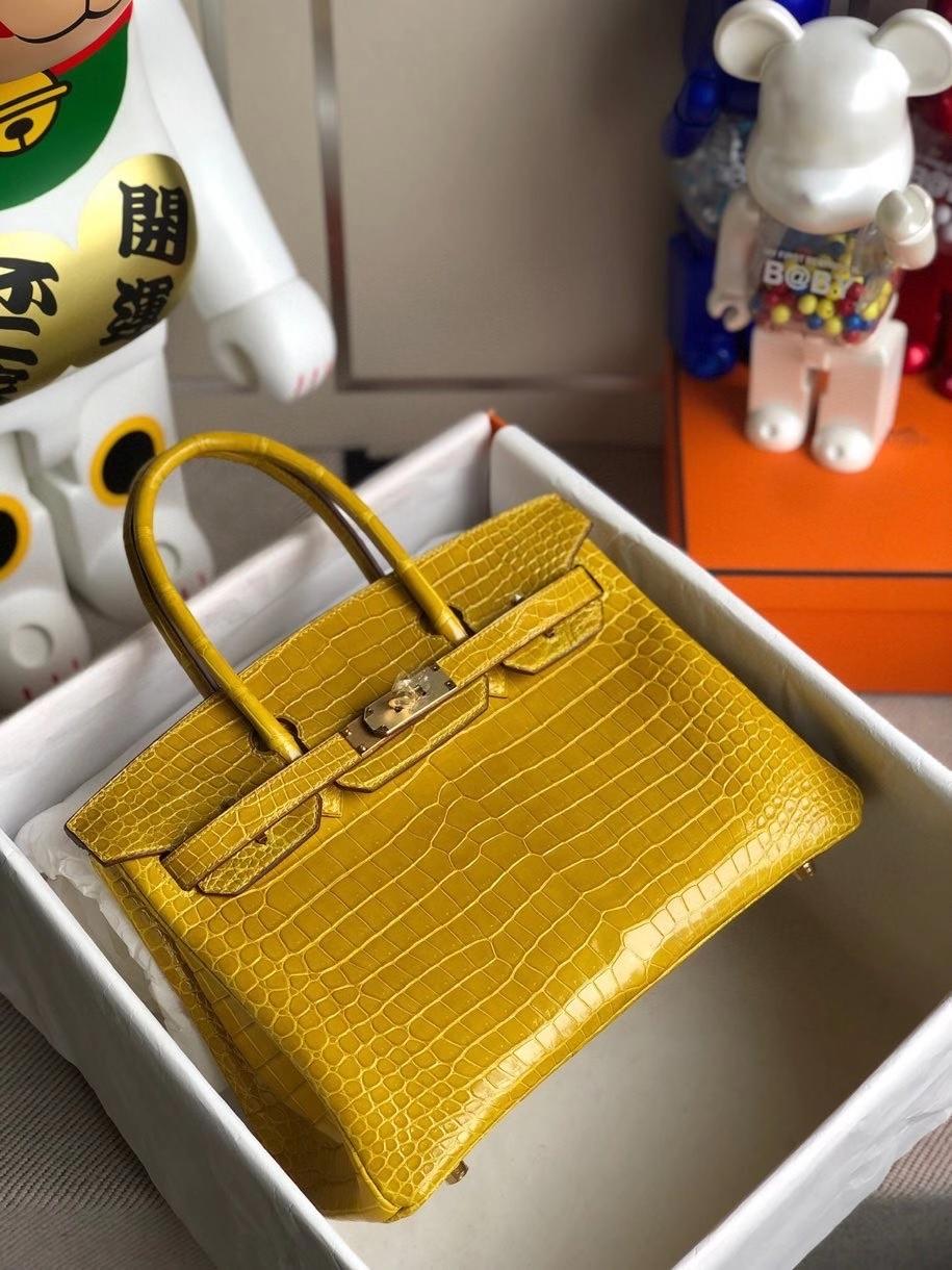 Hermès(爱马仕)Birkin 30cm Porosus shiny 亮面澳洲湾鳄9D 琥珀黄 Ambre 金扣 银扣 顶级手缝 现货