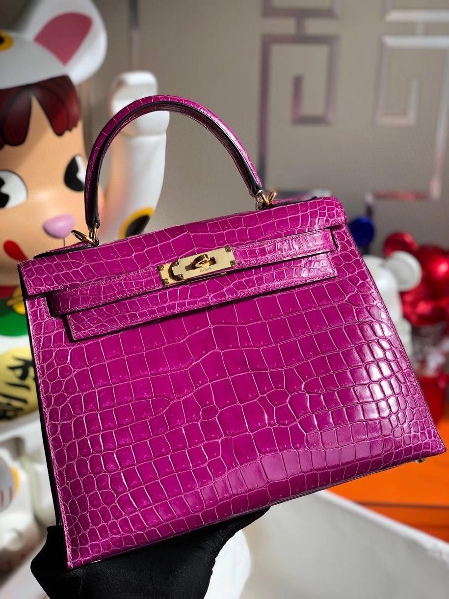Hermès(爱马仕)Kelly 28cm porosus shiny 亮面澳洲湾鳄 L3 玫瑰紫 金扣 顶级手缝 现货