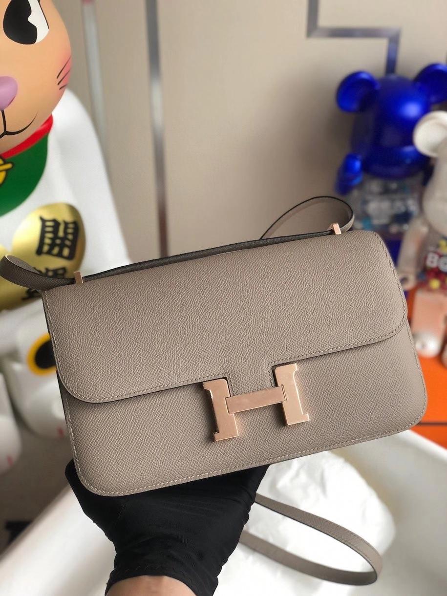 Hermès(爱马仕)Constance elan Epsom 原厂掌纹皮 M8 沥青灰 玫瑰金扣 rose gold 顶级手缝