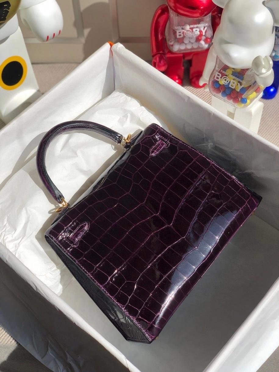 Hermès(爱马仕)Kelly 25cm Crocodile shiny 亮面鳄鱼 9G葡萄紫 金扣 顶级手缝 现货