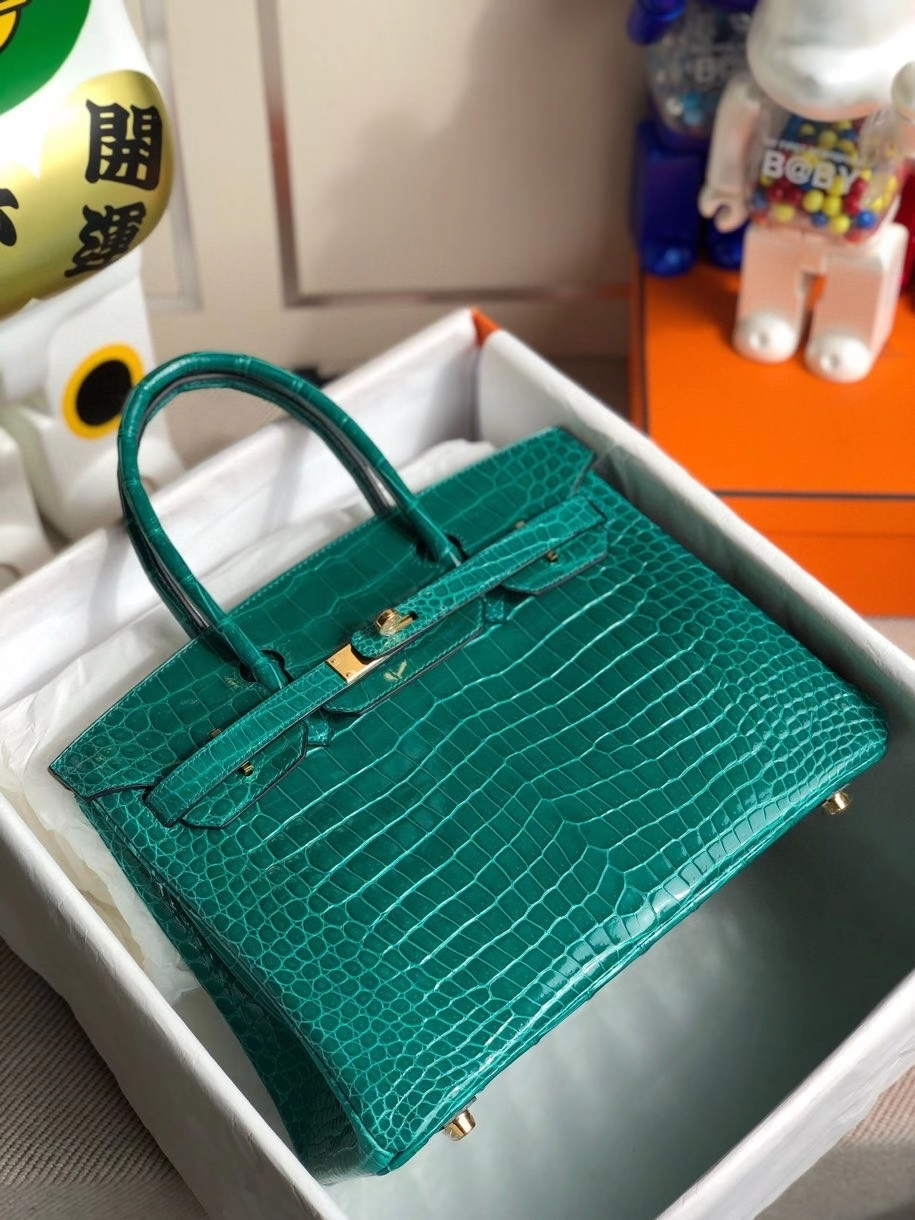 Hermès(爱马仕)Birkin 30cm Porosus shiny 亮面澳洲湾鳄 6Q 翡翠绿 金扣 顶级手缝 品相完美 现货