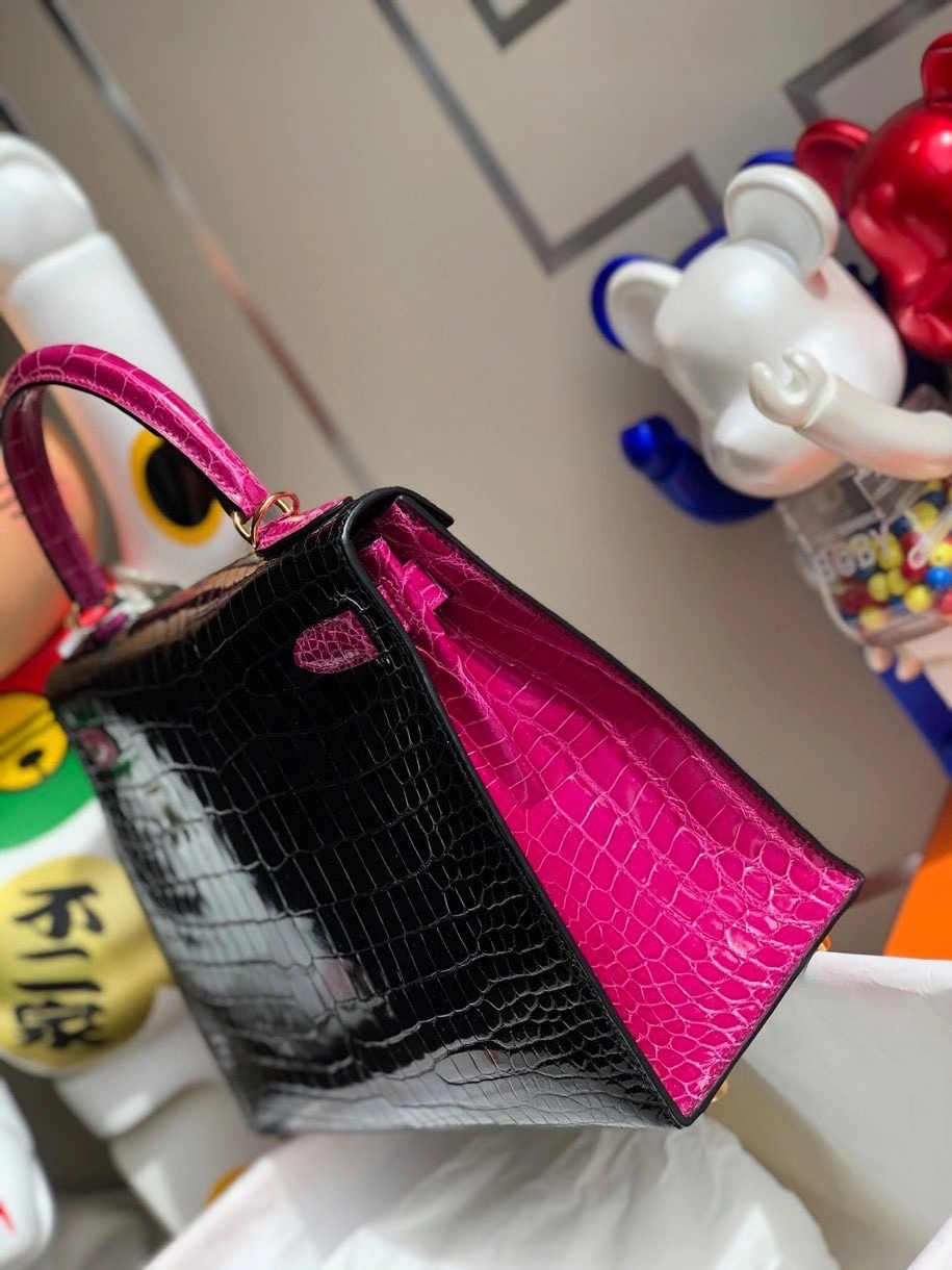 Hermès(爱马仕)Kelly 28cm porosus shiny 亮面澳洲湾鳄 ck89 黑色 拼 天方夜谭粉紫 金扣 马蹄印 现货